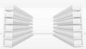 3D Supermarktdoorgang met Witte Lege Volledige Planken vector illustratie