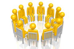 3D support group. 3D cartoon characters - great as group therapy, alcohol/drugs abuse support etc Stock Photo