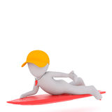 3d surfer paddling on his colorful red surf board. 3d surfer wearing a baseball cap and whistle paddling on his colorful red surf board, rendered cartoon Stock Image