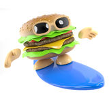 3d Surfing burger Stock Image