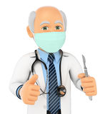 3D Surgeon with mask and scalpel Royalty Free Stock Photography