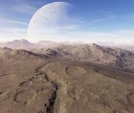3D surreal landscape illustration. A dead planet Stock Photos