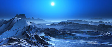 3D surreal landscape. 3D render of a snow covered fantasy landscape Stock Images