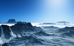 3D surreal landscape with snowy mountains. 3D render of a surreal landscape with snowy mountains Royalty Free Stock Photography