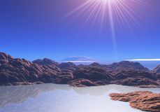 3D surreal landscape with sun rays. 3D render of a surreal landscape with sun rays shining down Stock Photo