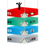 3D suspended platforms with icons for business ide Royalty Free Stock Image