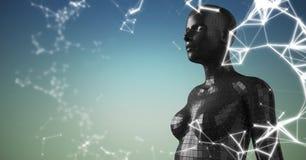 3D svärtar kvinnlign AI mot bakgrund för blå gräsplan med det vita nätverket Fotografering för Bildbyråer