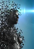 3D svärtar kvinnlign AI mot blå prickig bakgrund med signalljus Arkivbilder