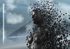 3D svärtar kvinnlign AI mot den glass skärmen och moln Arkivfoton