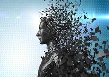 3D svärtar mannen AI mot blå prickig bakgrund med signalljus Royaltyfri Bild
