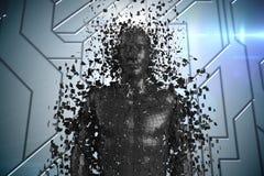 3D svärtar mannen AI mot blå teknisk modell Royaltyfria Bilder