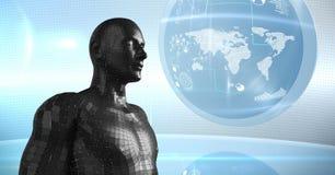3D svärtar mannen AI mot jordklotet och signalljus Arkivfoton