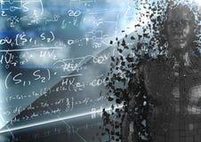 3D svärtar mannen AI mot väggen med matematikklotter och blossar Royaltyfri Bild