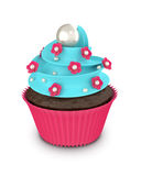 3d sweet cupcake with flowers and pearls isolated on white Royalty Free Stock Photos