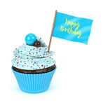 3d sweet cupcake with happy birthday flag. Isolated on white background Royalty Free Stock Photos