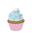 3d sweet cupcake with pearls isolated on white Stock Photography