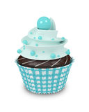 3d sweet cupcake with pearls isolated on white Royalty Free Stock Photo