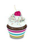 3d sweet cupcake with sprinkles  on white. Background Royalty Free Stock Photos