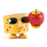 3d Swiss cheese holds an apple Stock Photo