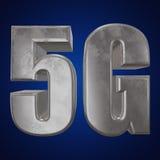 3D symbol för metall 5G på blått Royaltyfria Bilder