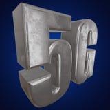 3D symbol för metall 5G på blått Royaltyfri Foto