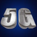 3D symbol för metall 5G på blått Royaltyfri Bild