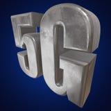 3D symbol för metall 5G på blått Royaltyfri Fotografi