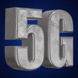 3D symbol för metall 5G på blått Fotografering för Bildbyråer