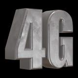 3D symbol för metall 4G på svart Royaltyfri Fotografi