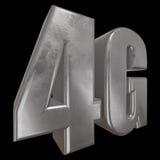 3D symbol för metall 4G på svart Arkivbilder