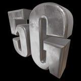 3D symbol för metall 5G på svart Royaltyfri Foto