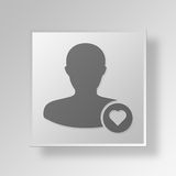 3D Symbol Gray Square Favorite User Button Stockfoto