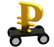 3D symbol ruble on a wheels Stock Image