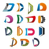 D icon of abstract letter font for business design. D symbol set of abstract capital letter font. Orange, blue, red and green figures in shape of D alphabet Stock Photo