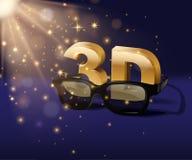 3D symbol z trójwymiarowymi szkłami na błękitnym magicznym tle Wektorowy kinowy plakatowy szablon ilustracja wektor