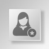 3D symbole Gray Square Favorite User Button Images stock
