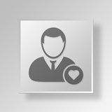 3D symbole Gray Square Favorite User Button Photos libres de droits
