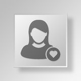 3D symbole Gray Square Favorite User Button Photo libre de droits