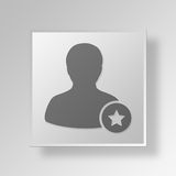3D symbole Gray Square Favorite User Button Photographie stock