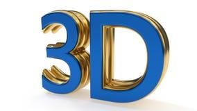 3D symbolen gouden het schrijven werk als achtergrond, het 3d teruggeven Stock Foto