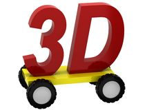 3d Symbols 3D on wheels Stock Images