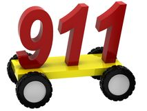 3d Symbols 911 on wheels Royalty Free Stock Images