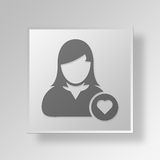 3D Symbool Gray Square Favorite User Button Royalty-vrije Stock Foto's