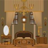 3 d sypialni otoczenia wewnętrznej pozbawione piorun ilustracja wektor
