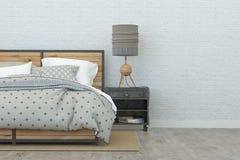 3 d sypialni otoczenia wewnętrznej pozbawione piorun świadczenia 3 d Fotografia Stock