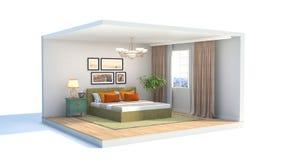 3 d sypialni otoczenia wewnętrznej pozbawione piorun ilustracja 3 d royalty ilustracja