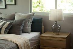 3 d sypialni otoczenia wewnętrznej pozbawione piorun Obrazy Stock