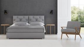 3 d sypialni otoczenia wewnętrznej pozbawione piorun klasyczny nowoczesnego Zdjęcia Royalty Free