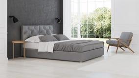 3 d sypialni otoczenia wewnętrznej pozbawione piorun klasyczny nowoczesnego Zdjęcia Stock