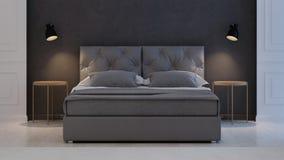 3 d sypialni otoczenia wewnętrznej pozbawione piorun klasyczny nowoczesnego Zdjęcie Stock